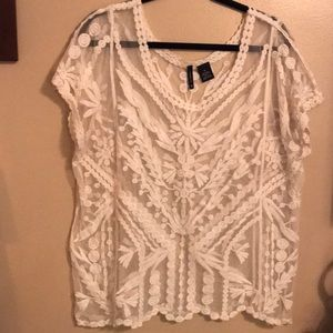 Lace Embroidered Blouse | Off-White Color